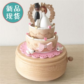 jeancard台湾枫木质婚礼蛋糕旋转八音盒音乐盒结婚庆情人节创意礼物