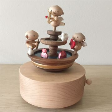 台湾jeancard枫木质丘比特八音盒音乐盒创意生日礼物送男女生特别
