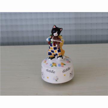 韵升18音陶瓷猫狗旋转八音盒音乐盒创意生日礼物送男友出口精致礼品