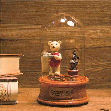 Sankyo18音树脂复古咖啡豆留声机旋转八音盒音乐盒送女生日创意礼物