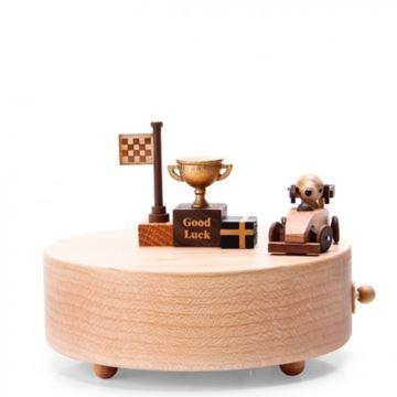 Jeancard台湾枫木质18音音乐盒八音盒小狗赛车创意生日礼物情人节礼品
