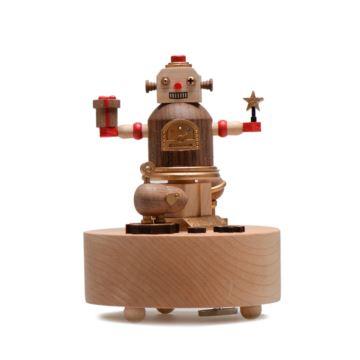台湾jeancard旋转木质机器人八音盒音乐盒创意生日礼物七夕情人节礼品