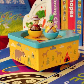18音木质旋转八音盒音乐盒送孩子儿童节日生日礼物创意礼品可爱特别