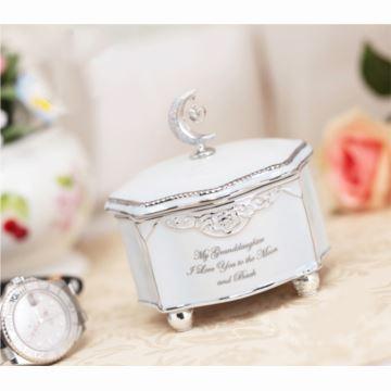 进口18音银色月亮陶瓷八音盒音乐盒情人节七夕礼物创意生日结婚庆礼品