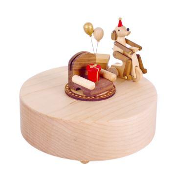 台湾jeancard木质小狗骑单车八音盒音乐盒创意生日七夕情人节礼物