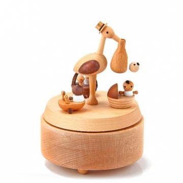 jeancard台湾枫木质仙鹤送子旋转八音盒音乐盒创意礼物送闺蜜送孩子