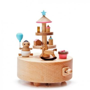 wonderful life台湾木质宝贝玩具旋转八音盒音乐盒创意生日礼物送孩子