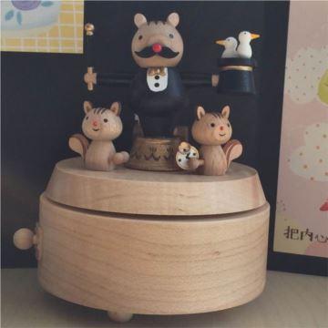 jeancard台湾木质魔术师旋转八音盒音乐盒创意生日礼物送男生送老师