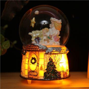 18音树脂带灯水晶球八音盒音乐盒创意生日礼物圣诞节日礼品送女友