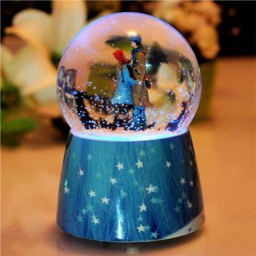 几米18音飘雪花炫彩灯水晶球八音盒音乐盒创意生日情人节礼物送女生