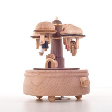 Jeancard木质空中飞人旋转八音盒音乐盒创意生日礼物送女生男友老公