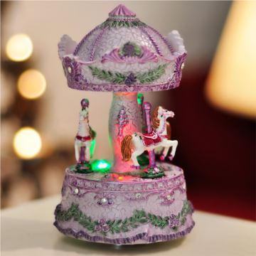 18音sankyo带灯旋转木马八音盒音乐盒创意生日礼物送男女朋友儿童精品