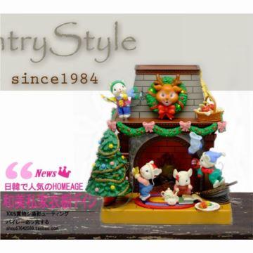 美国ENESCO圣诞壁炉前的老鼠八音盒音乐盒创意生日礼物古董收藏品1984