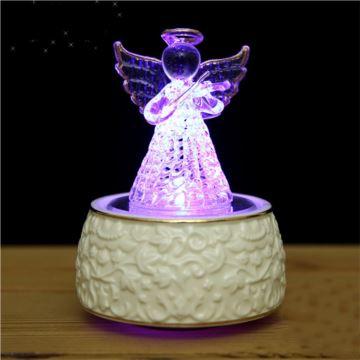 韵升18音水晶玻璃旋转带灯天使八音盒音乐盒创意生日礼物送女生