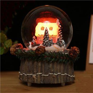 韵升18音雪屋圣诞树炫彩灯复古水晶球八音盒音乐创意圣诞节日礼物