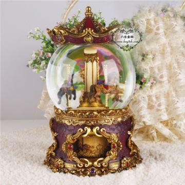 超大号发光旋转带灯水晶球八音盒音乐盒创意生日礼物情人节礼品
