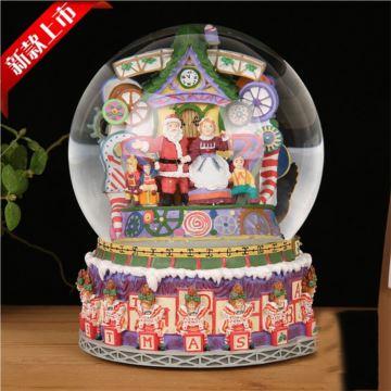 大号圣诞老人水晶球八音盒音乐盒圣诞节礼物创意礼品