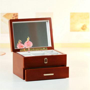 旋转芭蕾舞木质首饰盒珠宝盒音乐盒八音盒创意送女生日情人节礼物