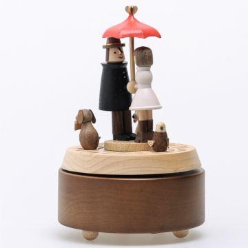 台湾jeancard枫木木质几米相遇旋转八音盒音乐盒创意生日礼物送男女