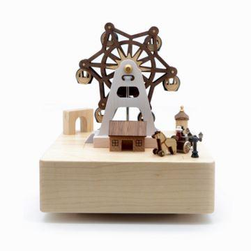 台湾jeancard枫木木质旋转摩天轮游乐场八音盒音乐盒情人节生日创意礼物