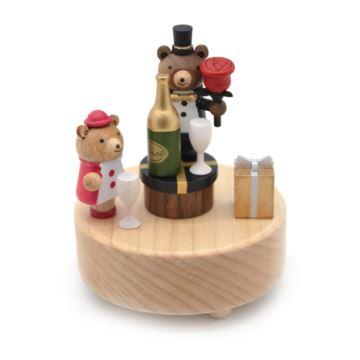 Jeancard枫木木质爱的香槟八音盒音乐盒七夕情人节创意礼物送男女朋友
