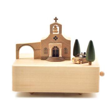 台湾jeancard木质旋转婚礼教堂八音盒音乐盒创意生日情人节结婚礼物