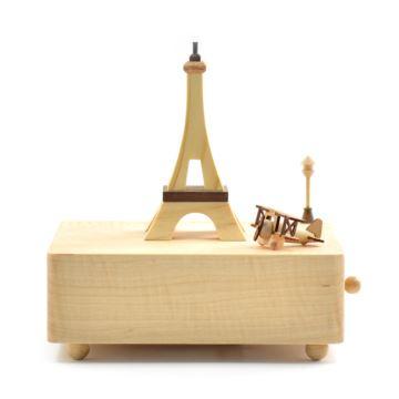 Jeancard木质埃菲尔铁塔飞机旋转八音盒音乐盒创意生日礼物送男女友
