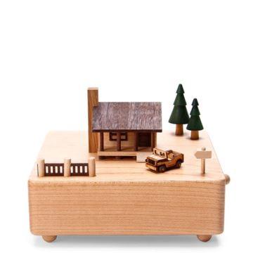 台湾Jeancard枫木木质小木屋吉普车旋转八音盒音乐恶化创意生日礼物送男女朋友