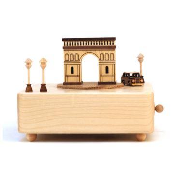 台湾Jeancard枫木凯旋门老爷车八音盒音乐盒创意生日礼物纪念品