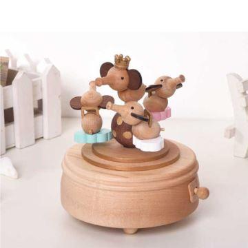 Jeancard台湾枫木木质小飞象乐园旋转八音盒音乐盒创意生日礼物送男女生