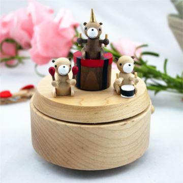 Jeancard台湾枫木木质小熊乐队旋转八音盒音乐盒 结婚庆创意礼物