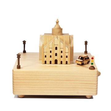 Jeancard台湾枫木木质米兰教堂旋转八音盒音乐盒创意生日礼物送男女生