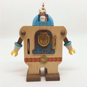 Jeancard台湾枫木木质鼓浪屿日光一号机器人八音盒音乐盒创意生日礼物