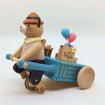 Jeancard台湾木质猫咪拉车八音盒音乐盒 情人节生日创意礼物