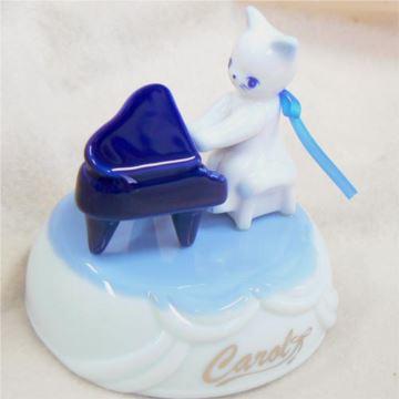 日本进口Sankyo18音陶瓷猫弹琴旋转八音盒音乐盒创意生日礼物