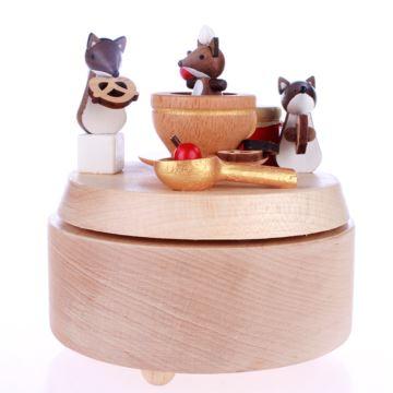 台湾正品jeancard音乐盒天然实木狐狸下午茶家族木质八音盒创意生日礼物送爱人闺蜜