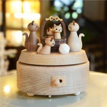 台湾正品jeancard祝福猫咪音乐盒八音盒创意生日礼物送爱人女朋友情人圣诞