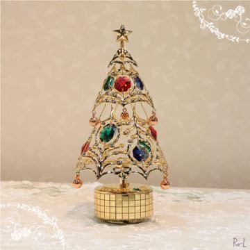 日本进口Sankyo18音施华洛世奇水晶旋转圣诞树音盒音乐盒创意圣诞节礼物