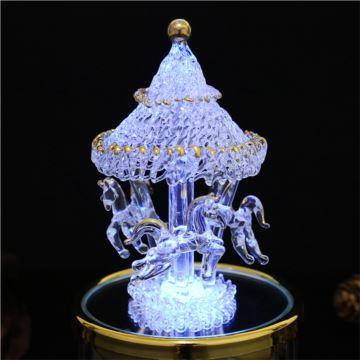 Sankyo水晶彩灯旋转木马音乐盒八音盒七夕情人节创意生日礼物送男女