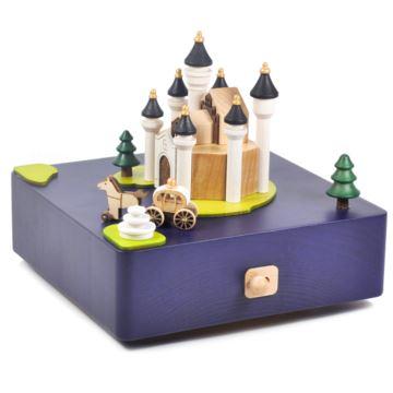 正品台湾jeancard音乐盒木质城堡旋转马车八音盒送女生生日七夕情人节礼物