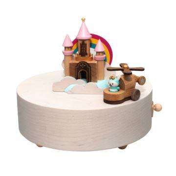 台湾正品Jeancard木质音乐盒彩色八音盒云朵彩虹城堡飞机七夕情人节生日礼物
