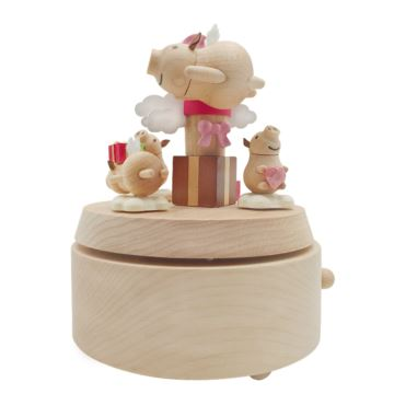 台湾正品Jeancard木质旋转小猪八音盒音乐盒创意生日礼物送男女朋友