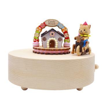 台湾Jeancard木质旋转猫咪骑车八音盒音乐盒 创意生日礼物送男女儿童