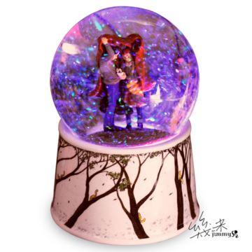 几米挡风遮雨音乐盒水晶球旋转八音盒亮片彩灯送女生生日天空之城创意礼物