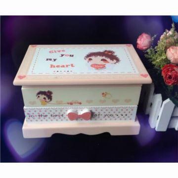 18音旋转木质首饰盒八音盒音乐盒生日结婚创意礼物送女生闺蜜
