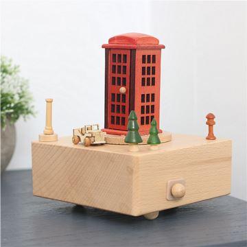 ILOVEST枫木木质旋转电话亭八音盒音乐盒摆件创意生日礼物送闺蜜朋友