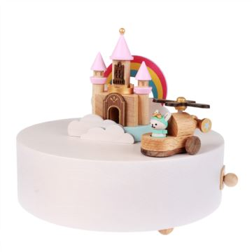 台湾Jeancard枫木旋转彩虹城堡八音盒音乐盒 创意生日礼物送男女朋友