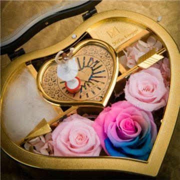 实木心形音乐盒永生花八音盒玫瑰rose礼盒only生日情人节特别高端礼物