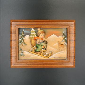 二手瑞士REUGE音乐盒胡桃木纯手工雕刻男孩滑雪橇八音盒胡桃木首饰盒古董36音梳产自1986年