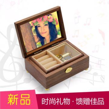 韵升雷曼士音乐盒YB8MY5刻字木质创意生日礼物女生天空之城八音盒胡桃木音乐首饰盒